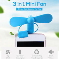 Phone Fan Portable USB Cooling Fan Low Noise Lightweight 3 in 1 Mini Phone Fan