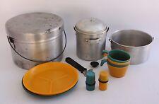 Vintage Aluminum Mess Camp Camping Piece Nesting Cookware Dining Kit Set