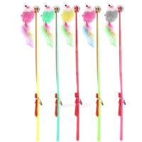 5Pcs Kitten Cat Toy Mouse On A Rod Teaser Bell Feather Play Pet Dangler Wand NEW