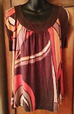 Apt. 9 Multi-Color Cap Sleeve Top Size PXL EUC Womens Round Neck Rayon/Spandex