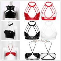 Women Wet Look Patent Leather Tank Vest Crop Top Halter Bustier Bra Dance Club