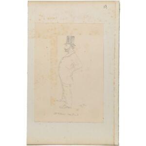 Unframed William Steenstrand Antique Character Portrait Sketch Drawing Hibbert