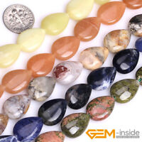 "Wholesale Natural Assorted Stones Teardrop Beads For Jewelry Making 15"" 13x18mm"