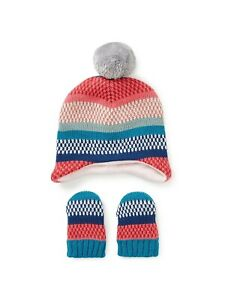 John Lewis & Partners Baby Stripe Hat and Mitt Set / Multi Age 12-24 Months New