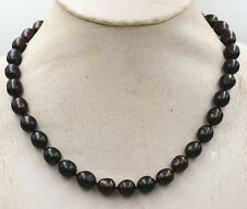 Pretty NATURAL 10-11MM unique TAHITIAN RICE BLACK PEARL NECKLACE 18""
