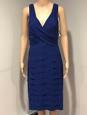 AMERICAN LIVING SLEEVELESS SOLID BLUE V-NECK TIERS JERSEY DRESS (14)