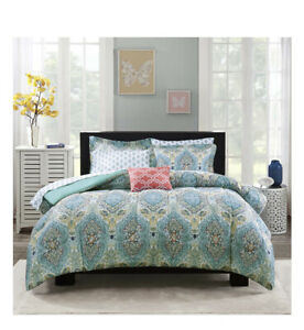 Mainstays Teal Paisley 6-8 Pc Bed In A Bag Set With Bonus Sheet Set, FULL