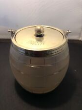 Antique Glass Biscuit Barrel With Silver Plated Mounts