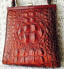 Cynthia Rowley Vintage Crocodile Red Brown Croc Embossed Leather Handbag Bag