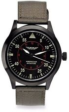 Nylon Casual Watch Green Band American Aviator Mens Quartz Metal and