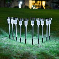 12pk Solar Light Pathway Outdoor Garden Stake Walkway LED 1 Lumen White Lighting