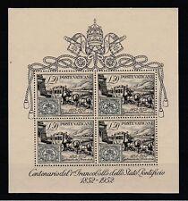 FRANCOBOLLI - 1952 VATICANO FOGLIETTO CENTENARIO PRIMO FRANCOBOLLO MNH Z/7881