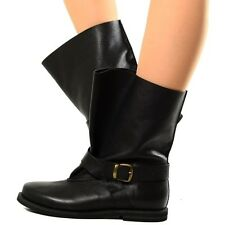 Stivali Biker Boots Scarpe Donna Pelle Stivaletti Neri Indian Alternative