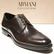 ARMANI Brown Leather Formal Dress Derby Captoe Oxford 9 42 Men's Shoes Casual