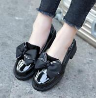 Spring BowknotRound Toe Kitten Heel Lolita Pull On Patent Leather Shoes Non-slip