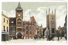 Municipal Buildings & St Lawrences Church, Reading PPC, 1906 Local PMK