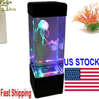Colorful Moving Jellyfish Aquarium  Home Office Night Light LED Lamp Tank