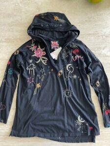 Johnny Was KAI Hoodie Top LONG STARS COTTON Embroidery BLACK XXLARGE XXL NEW