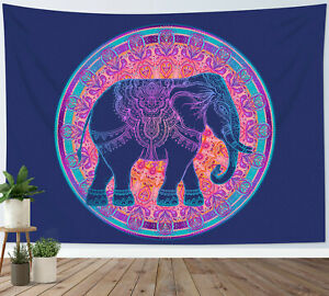 Mandala Elephant Tapestry Purple Psychedelic Animal Wall Hanging Bedspread Cover
