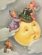 Vintage Dutch New Year Fantasy Postcard Children Moon Face Top Hat Clouds Sky