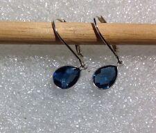 Sterling Silver Bezel Checkerboard Pear London Blue Topaz Lever back Earrings