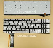 New Keyboard For ASUS R552JK R552JV R552LF Q550LF Silver No Frame Backlit UK