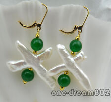 White Cross FW pearl Green jade earring 14k-20 hook