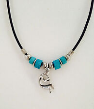 Kokopelli Turquoise Hopi Leather Charm Necklace unique Jewelry New Great Gift