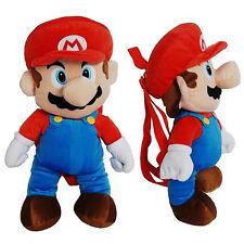 "NINTENDO SUPER MARIO BROS Figure Plush 16"" Backpack Buddy Travel Toy Bag NEW"