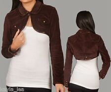 Brown Brushed Corduroy Beaded Cropped Bolero/Shrug/Cover Jacket S/M/L