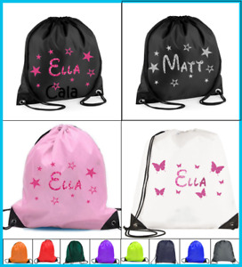 PERSONALISED Drawstring bag PE dance stars butterflies boys girls swimming gym