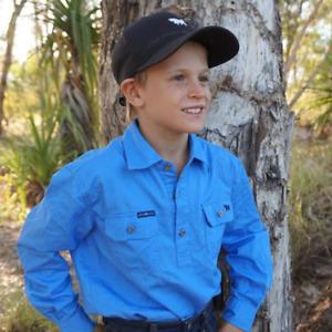 Ord River Blue Half Button Kids Shirt Ringers Western