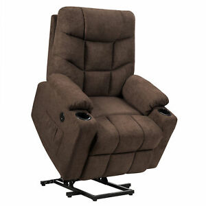Power Lift Massage Recliner Fabric Sofa Chair w/ Remote Control Brown