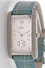 Designer $7000 CYMA 18k White Gold 1ct VS G Diamond Ladies DRESS Deployant Watch