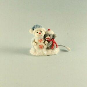 OOAK~Sock Monkey~Snowman~Christmas~Baby Toy~Artist Doll~Dollhouse~Cheryl Brown