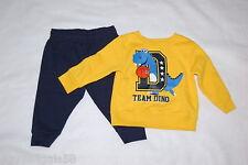 Baby Boys YELLOW SWEATSHIRT Basketball TEAM DINO Navy Blue Sweat Pants 12 MO
