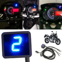 LED Digital Gear Indicator Motorcycle Display Shift Lever Sensor Blue Universal
