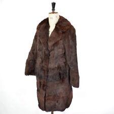 Women's Brown VTG Glam REAL CONEY RABBIT FUR Diva Glossy Party Coat Jacket UK 12