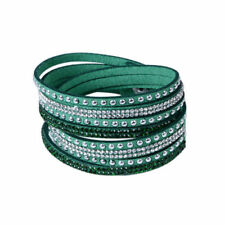 SLAKE BRACELET FAUX LEATHER SUEDE CRYSTALS GREEN