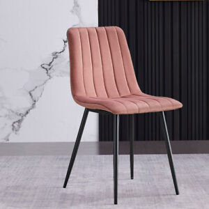 Pair of Pink Side Dining Chairs Soft Velvet with Vertical Line Home Lounge Chair