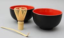 Matcha Schale /  Bambusbesen / Bambuslöffel / Matcha-Set 4-teilig 500ml schw/rot