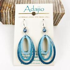 Adajio Earrings 3 Part Open Stack Handpainted Teal Ovals Handmade in US 7841