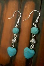Native American Turquoise Silver 925 Love Kindness Heart Earrings Empath Energy