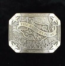 "Nocona Western Mens Belt Buckle ""THE REPUBLIC OF TEXAS"" Silver 37983"