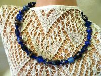 """18"""" COBALT BLUE GLASS BEADED WIRE CURB CHOKER NECKLACE-EMBELLISHED BEADS"""