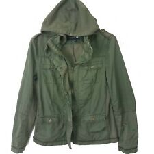 Forever 21 Hoodie Hooded Utility Jacket Sz L Olive Green Zip Front