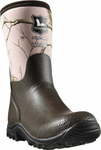 Field and Stream Women Pink/Brown Scent Free Waterproof Rubber Boots size 4