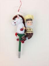 "Hershey's Kurt Adler Painted Wood 5"" Elf Pony Pogo Stick Christmas Tree Ornament"