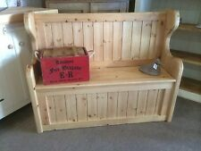 A Solid Rustic Pine Handmade Monks Pew Settle Storage Bench Window Hallway Seat