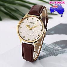 Wholesale Brown Leather Crystal White Dial Quartz Watch Women Lady Wrist Watch